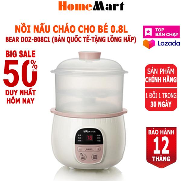 [XẢ KHO 3 NGÀY] Nồi nấu cháo cho bé Bear DDZ-B08C1, dung tích 0.8L kèm lồng hấp (Hàng chính hãng 1 đổi 1 trong 30 ngày, bảo hành 12 tháng) - HomeMart