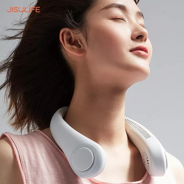 Quạt mini tích điện đeo cổ không cánh chính hãng JisuLife, không lo tóc bị quấn vào quạt, biên độ gió rất rộng 360 độ, sử dụng liên tục được từ 10 tiếng trở lên