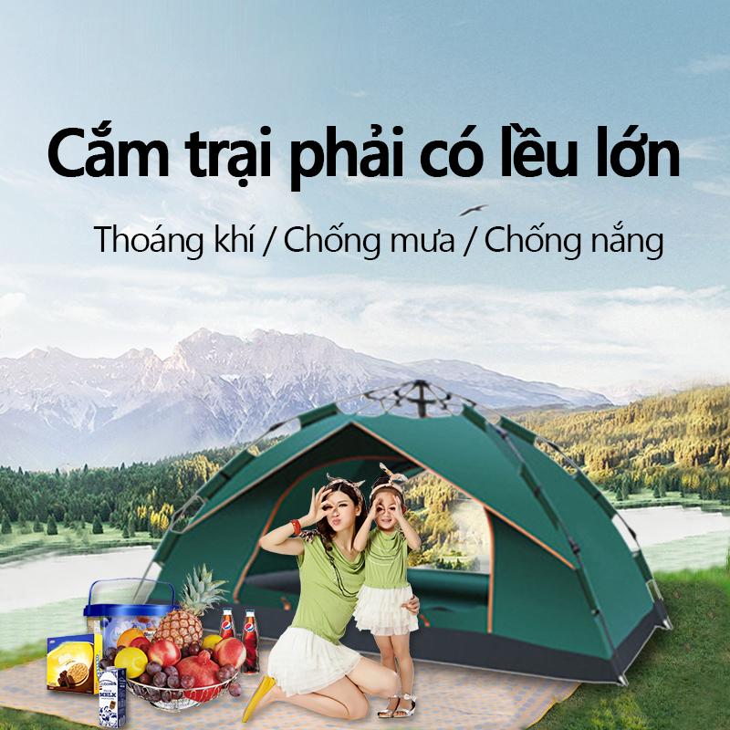[HCM]Lều cắm trại dã ngoại câu ca du lich cao cấp tự động bật mở 2- 3 người gập cất dễ dàng chống nước bền bỉ