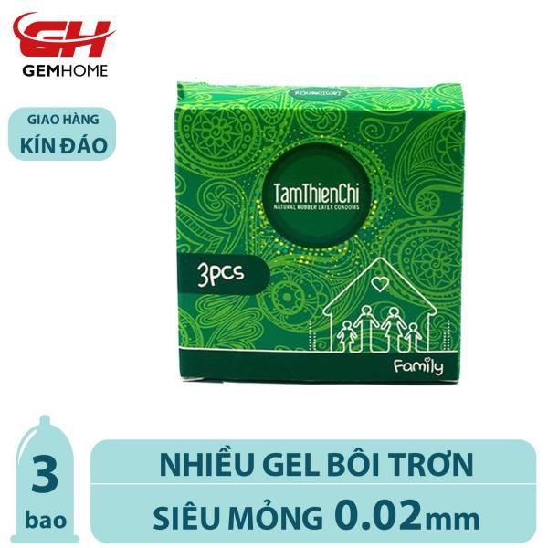Bao Cao Su Tâm Thiện Chí Family, nhiều gel bôi trơn, bcs siêu mỏng tận hưởng trọn cảm giác (hộp 3 bao) GEMHOME