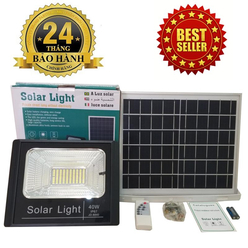 ĐÈN NĂNG LƯỢNG MẶT TRỜI SOLAR LIGHT JD-8840 công suất 40W công nghệ IP67 chống nước, Pin 12800mah, chế độ bật tắt tự động, có điều khiển từ xa