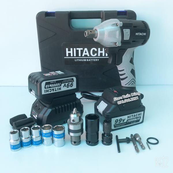 Siết bulong Hitachi 99V không chổi than TẶNG BỘ PHỤ KIỆN VÀ 5 KHẨU TRẮNG