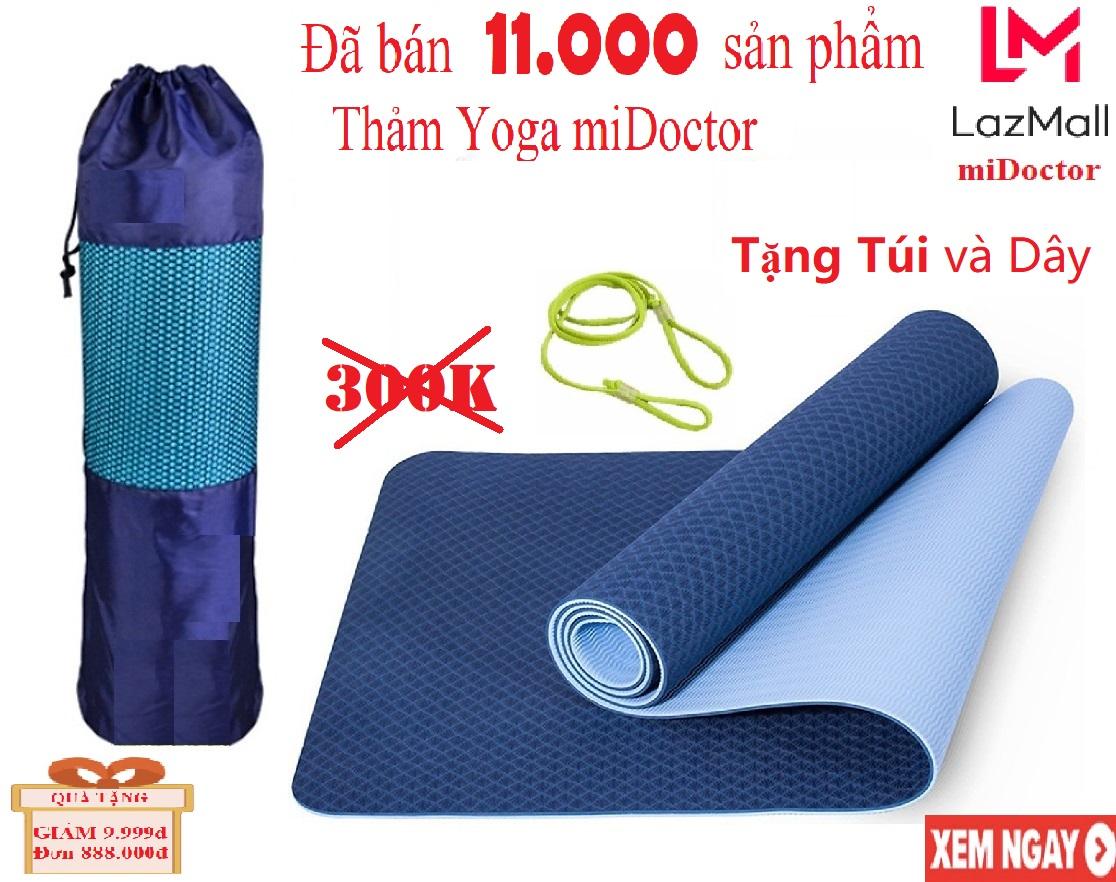 Thảm Tập YoGa Gym 2 Lớp miDoctor Màu Xanh CoBan + Bao Đựng Thảm Tập Yoga + Dây Thảm Tập Yoga (Chọn màu)