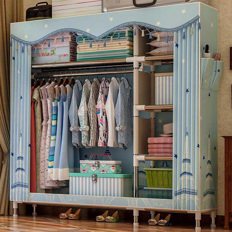 Tủ vải đựng quần áo khung inox 2 buồng 6 ngăn (nhiều mẫu) GDTRUONG40
