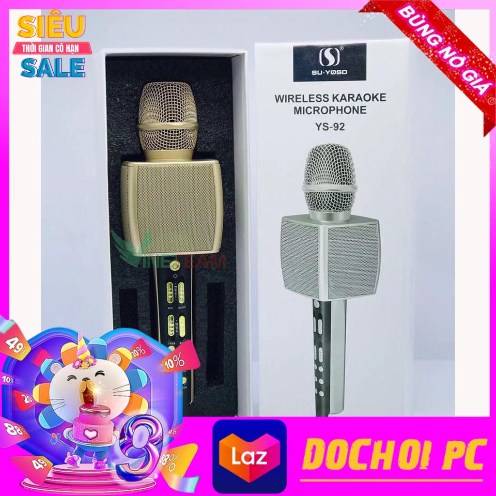 Micro Karaoke Chuyên Nghiệp YS 92 Mic Hát Karaoke Bluetooth Không Dây YS92 Lọc Tiếng ồn Cực Hay- Kèm Loa- Âm vang - Ấm - Mic Hát Karaoke Cầm Tay Mini - Mic Hát Karaoke Hay Nhat Hiện Nay