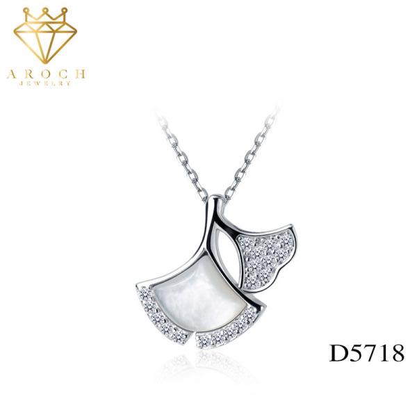 Dây chuyền bạc Ý s925 vỏ bạch quả rừng D5718 - AROCH Jewelry
