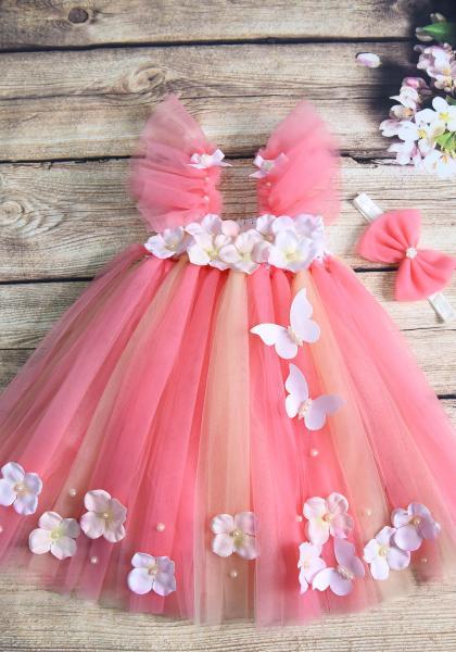 Giá bán Váy bé gái tutu công chúa vải voan màu hồng dâu xen màu da - tay cánh tiên cho bé từ 0 - 10 tuổi