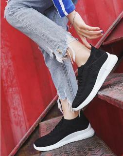 Giày thể thao vải nữ, 3 màu đen hồng trắng, đế cao su êm ái GN09 thumbnail