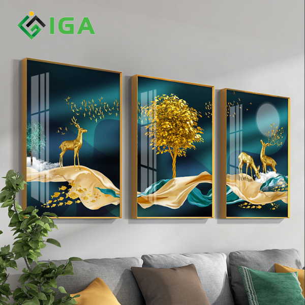 Tranh tráng gương pha lê IGEA con hươu 3D treo tường  - GD43