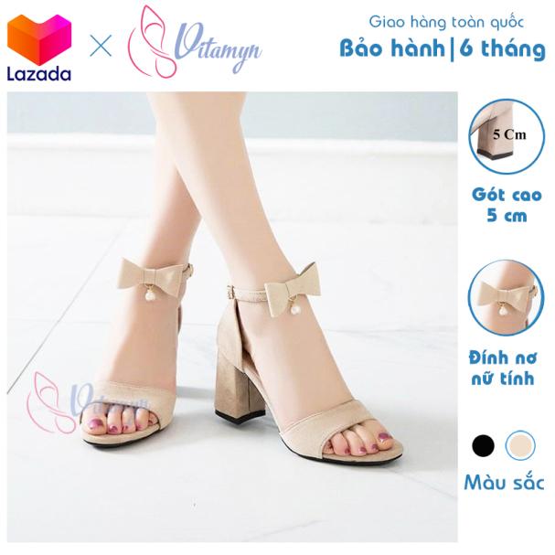Giày cao gót gót vuông 7cm dây đính nơ nữ tính thời trang giá rẻ