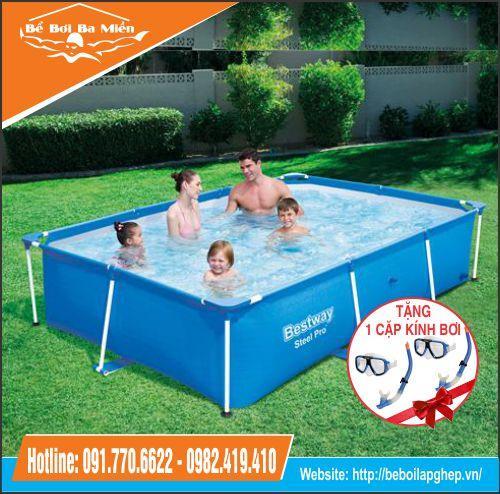 Bể bơi bestway 56403 khung chống kim loại KT 2.59m x 1.70m x 61cm