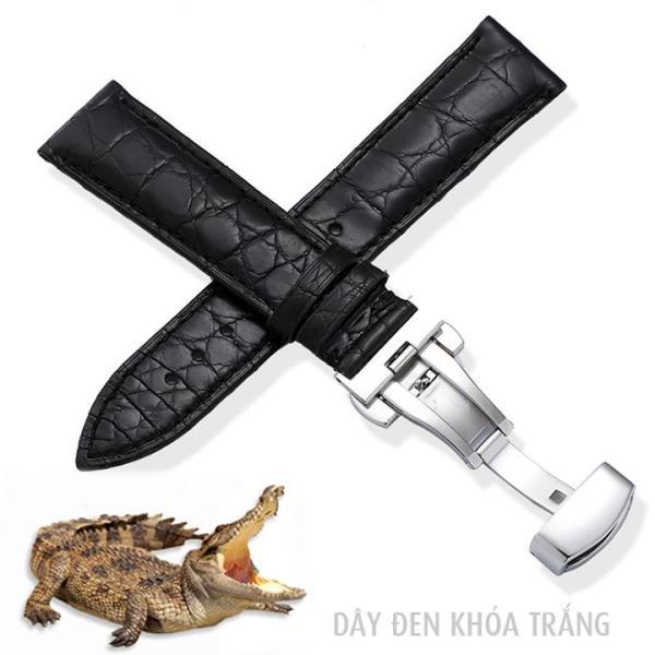 Dây đồng hồ nam size 18mm 20mm 22mm 24mm da cá sấu mềm, vân tự nhiên đẹp D1814 bán chạy