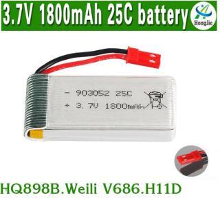 Pin Flycam Dung Lượng Cao 3.7V 1800mAh 25C (Cổng JST Đỏ) thumbnail