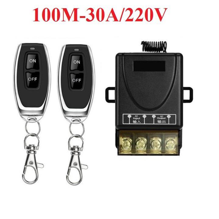 Công tắc điều khiển từ xa bật tắt thiết bị điện công suất lớn 30A/220V có chức năng học lệnh 2 điều khiển (Đen)