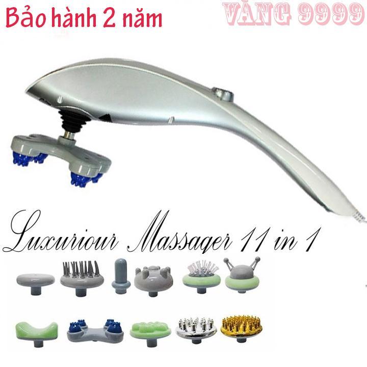 Máy Massage mặt, Máy Massage cầm tay BLUIDEA 11 in 1 .MÁY MASSA CẦM TAY HỒNG NGOẠI 11 ĐẦU GERMANY - Máy Matxa cầm tay 11 đầu toàn thân hồng ngoại  (Trắng) nhập khẩu