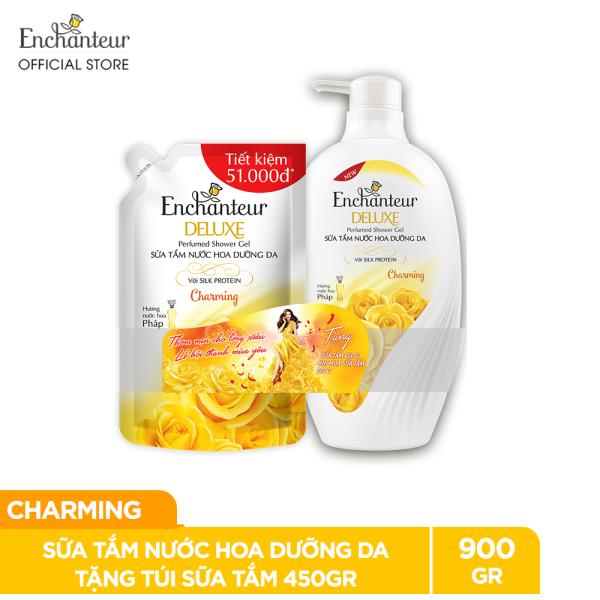 Sữa tắm nước hoa dưỡng da Enchanteur Charming 900gr - tặng túi sữa tắm 450gr NYP 2021 giá rẻ
