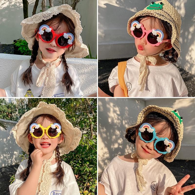Giá bán [Hàng xịn] Kính râm cho bé mẫu mới 2021, kính chống nắng cho bé trai và bé gái, kính cầu vồng chống tia UV400 mã 1586