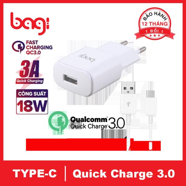 Combo sạc nhanh Bagi Quick Charge 3.0 và dây Type-C - Hàng chính hãng, bảo hành 12 tháng 1 đổi 1