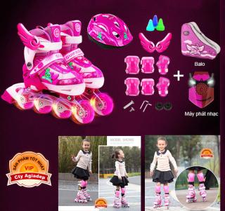 Giày Patin siêu xịn Gupaisy Bản Female Bánh phát sáng + Bộ bảo vệ tay chân + Túi + Mũ (Giày Trượt Patanh cao cấp) thumbnail