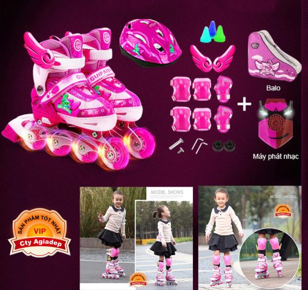 Giá bán Giày Patin siêu xịn Gupaisy Bản Female Bánh phát sáng + Bộ bảo vệ tay chân + Túi + Mũ (Giày Trượt Patanh cao cấp)