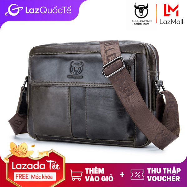 Túi đeo chéo đeo vai làm bằng da thật đựng vừa ipad 10 inch dành cho nam giới BULLCAPTAIN