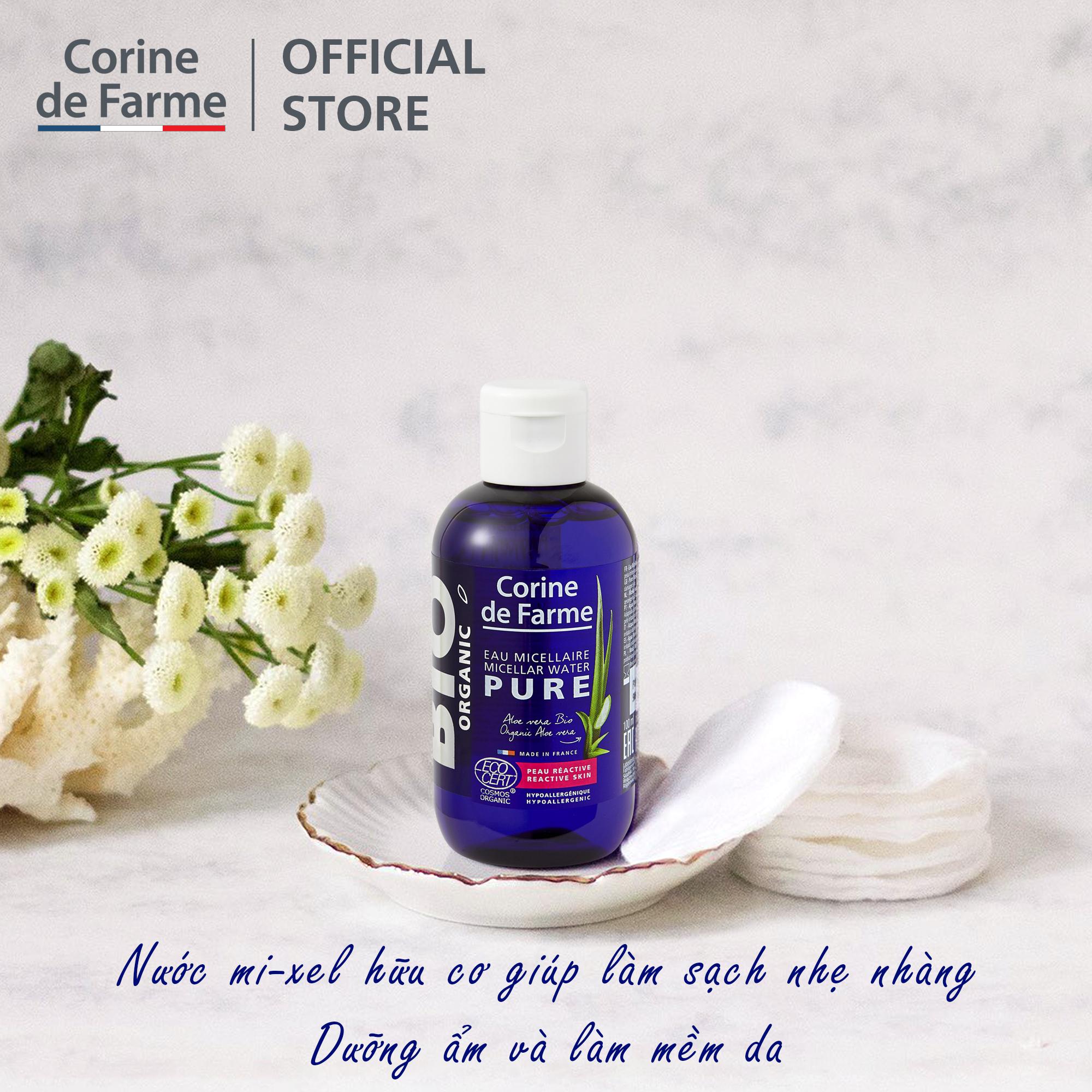 Nước mi-xel hữu cơ làm sạch nhẹ nhàng, tẩy trang Corine de Farme Organic  Micellar Water Pure 100ml | Lazada.vn