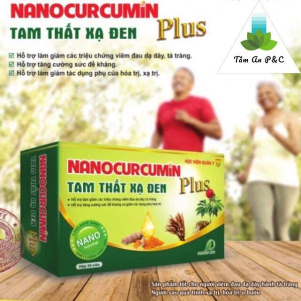 Nano Curcumin Tam Thất Xạ Đen Plus- Học Viện Quân Y ( hộp 30 viên ) Dành cho người Viêm loét dạ dày- tá tràng và ung thư