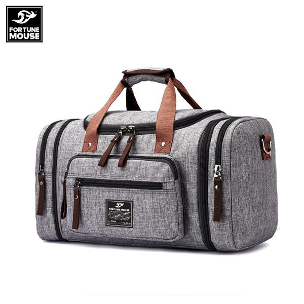 Túi xách du lịch cỡ đại vải bố vân xước Fortune Mouse 8642 có thể mở rộng thêm 2 bên hông kích thước 50x29x25cm