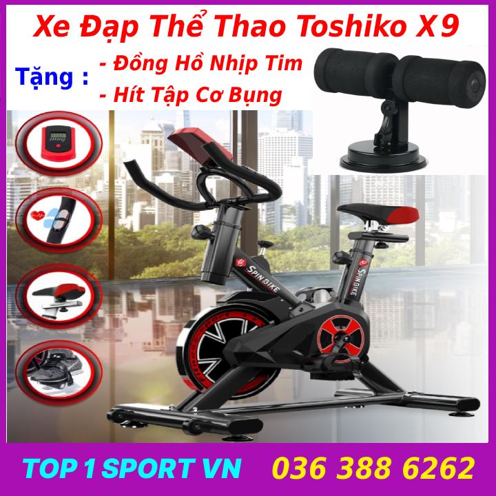 Xe đạp thể thao Toshiko X9 tặng hít bụng, xe đạp tập thể dục Toshiko X9 tặng đồng hồ nhịp tim + hít tập bụng - bảo hành 36 tháng