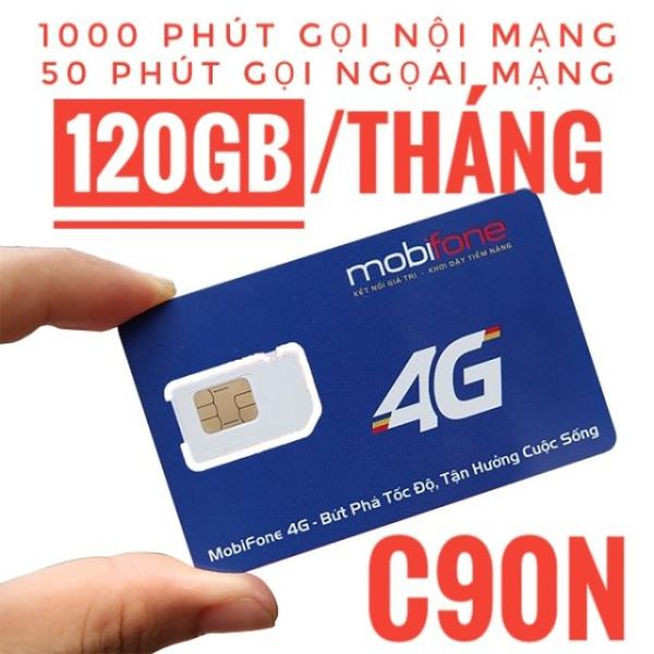 [Free tháng đầu] Sim 4G 10 số Mobifone C90N Chuẩn Gold. Tặng 120GB và 43.000 phút miễn phí/tháng.Sử dụng toàn quốc.Miễn phí tháng đầu.