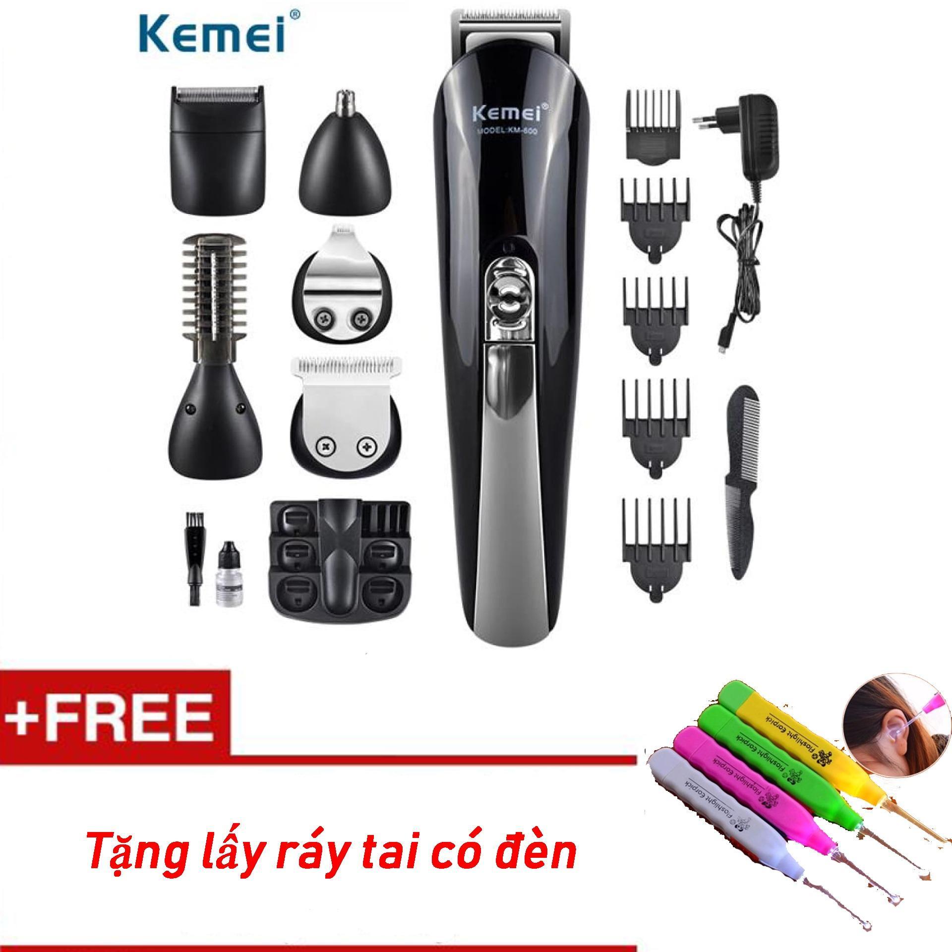 Tông đơ cắt tóc đa năng 6in1 Kemei KM-600 - Hãng bảo hành 1 đổi 1, cam kết về chất lượng + Tặng lấy ráy tai có đèn tốt nhất