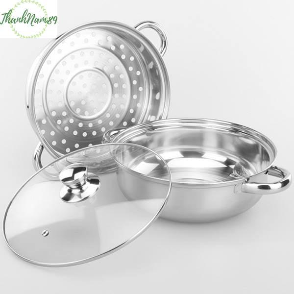 NỒI HẤP INOX 2 TẦNG ĐA NĂNG, Giúp công việc nấu nướng dễ dàng hơn, dễ dàng vệ sinh, bền bỉ, an toàn - ThanhNam89