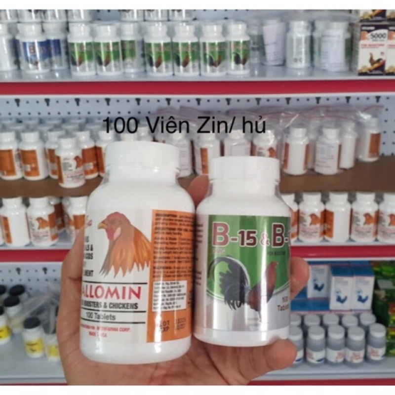 Combo 50 viên vitamin Gallomin và 60 viên B15&B12 cho gà đá