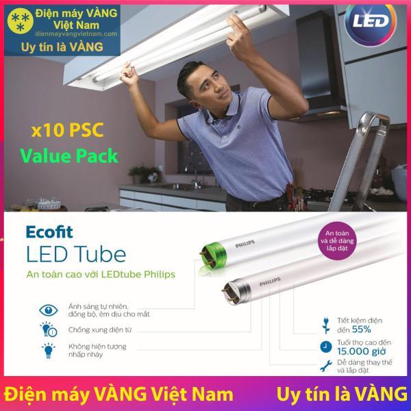 Bộ 10 Bóng đèn Philips LED Tube EcoFit Philips 18W 1M2 (Trắng, Vàng)