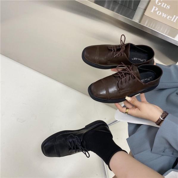 Giày nữ văn phòng da mềm đế 3cm oxfords giày mọi giày da fullbox có sẵn milina tiin naga juno giá rẻ