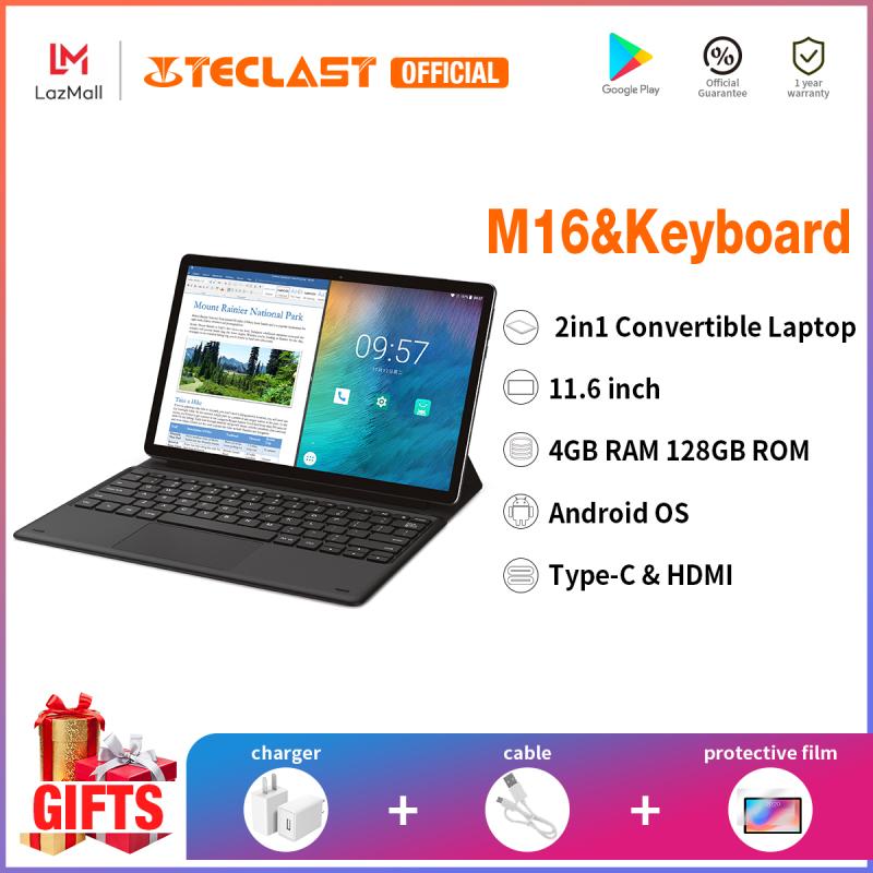 [Teclast Official] Máy tính xách tay Teclast M16/ Màn hình IPS FHD 11,6inch/ CPU MTK Helio X27 10 nhân/ Sim điện thoại kép 4G LTE/ Hệ điều hành Android 8.0/ 4GB RAM + 128GB ROM/ Bàn phím có thể tháo rời