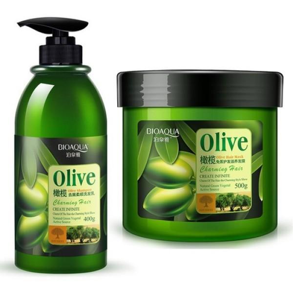 Bộ dầu gội và dầu xả dưỡng tóc olive Bioaqua phục hồi tóc hiệu quả