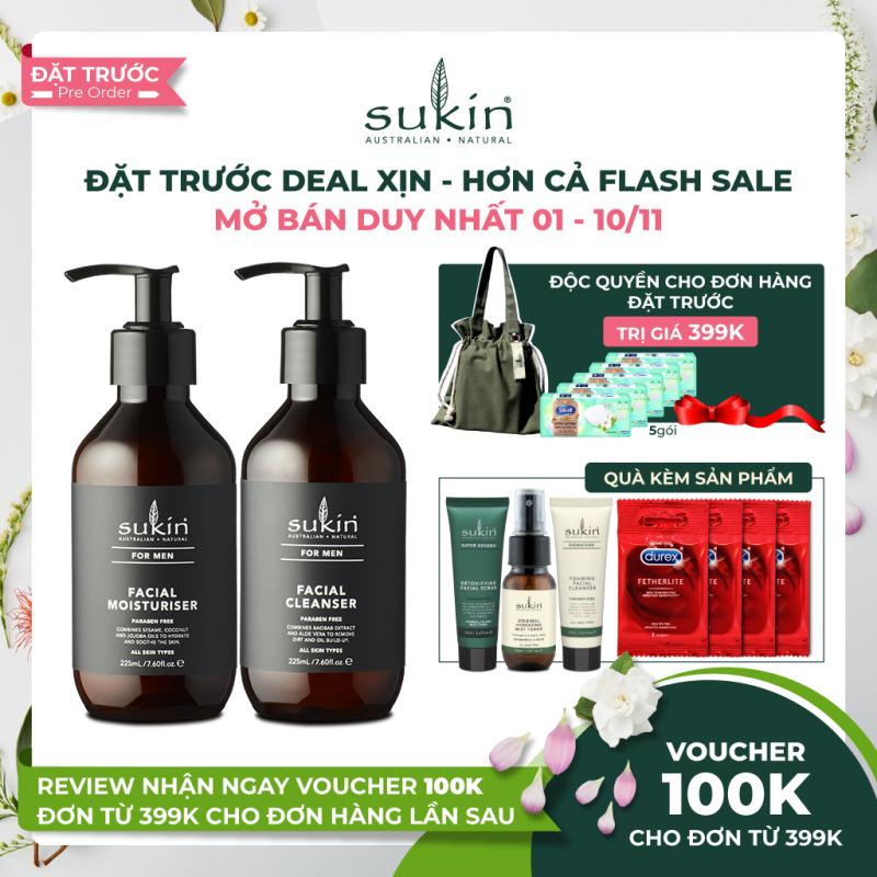 Bộ làm sạch & dưỡng ẩm da cho nam Sukin For Men Cleanser & Men Moisturiser 125mlx2 +Tặng bộ chăm sóc da mặt giá rẻ