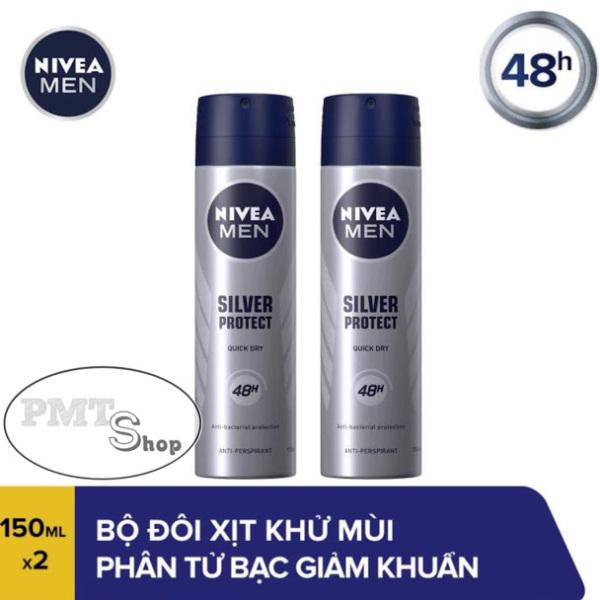 Combo 2 Xịt khử mùi Nivea Men Silver Protect 150ml x 2 phân tử bạc Ngăn Khuẩn Gây Mùi Vượt Trội Dành Cho Nam nhập khẩu