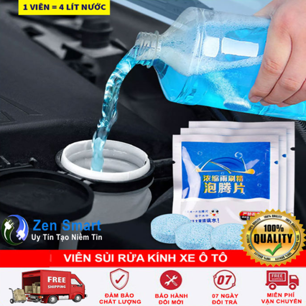 Viên Sủi Rửa Kính Ô Tô Siêu Sạch ( Combo 10 Gói )