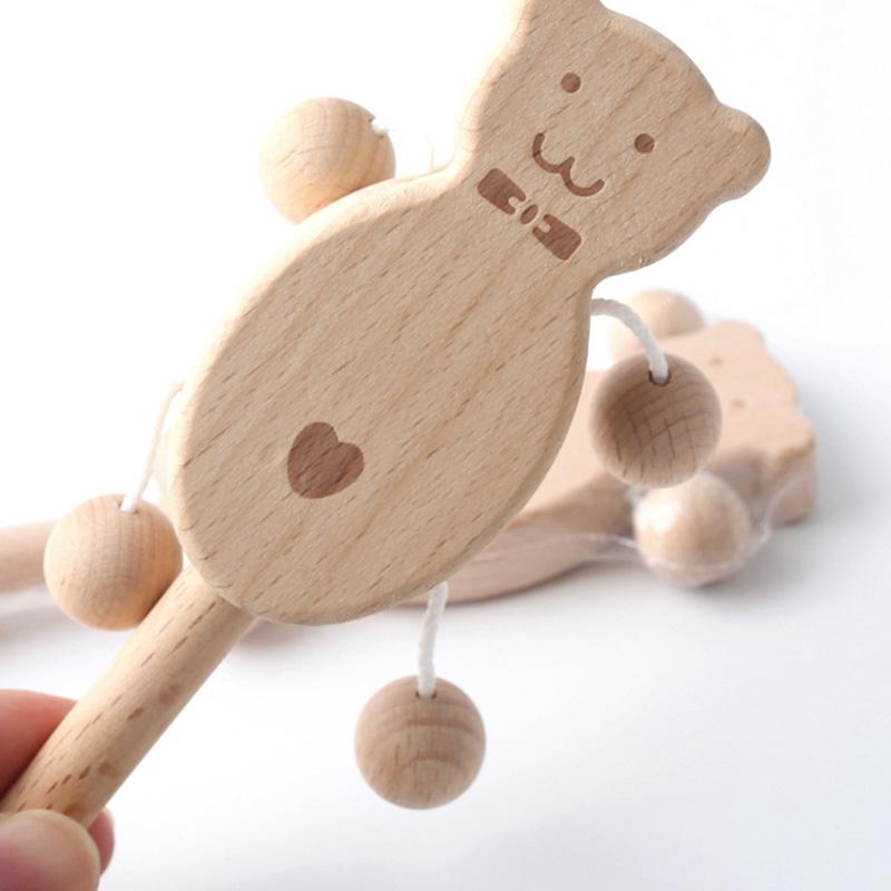 1PC Baby Gift Wood Bear Rattle Teething Wooden Beads Can Chew Toy Play Gym Toys Baby Rattles Teether