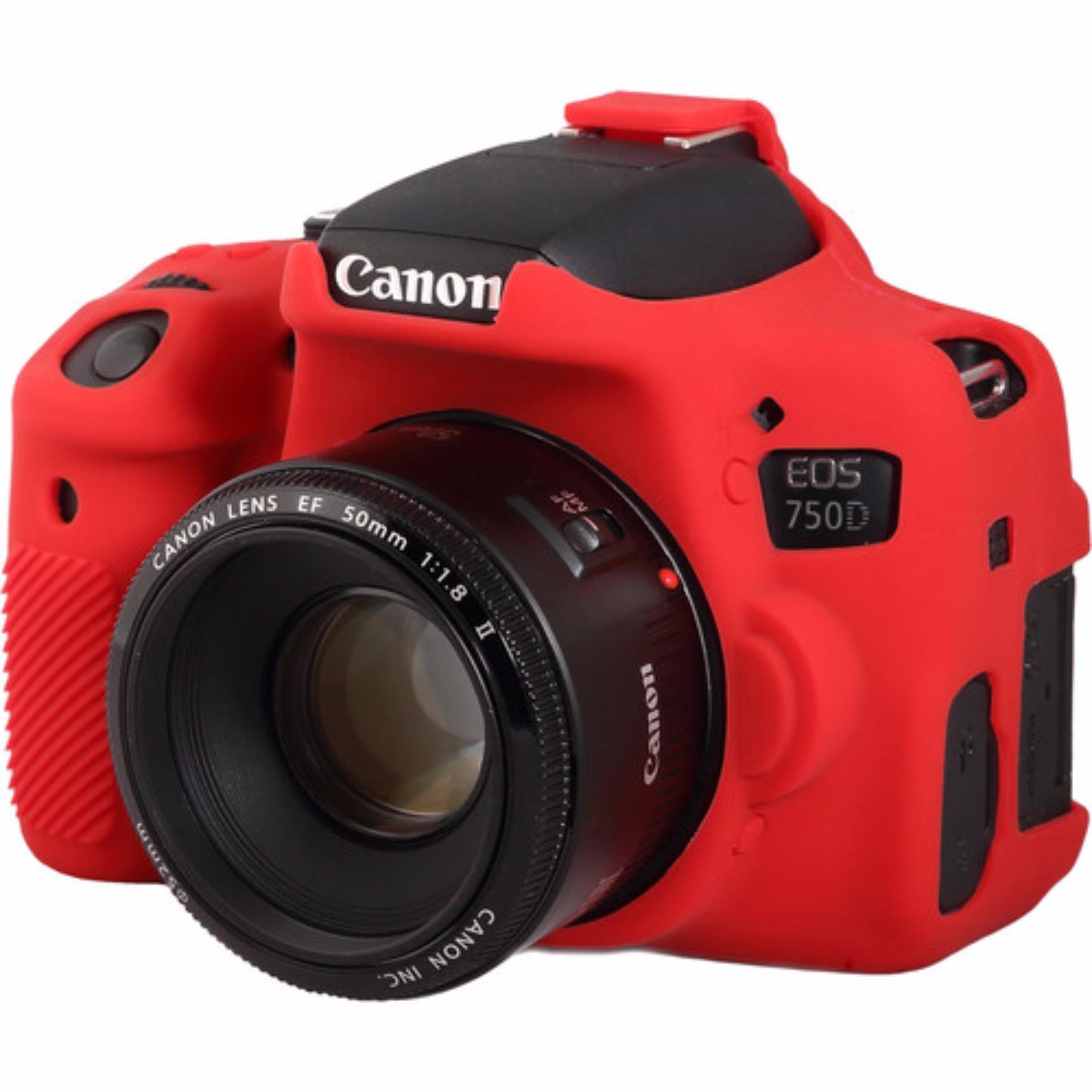 Bao Silicon bảo vệ máy ảnh Easy cover cho Canon 750D (Màu Đỏ)