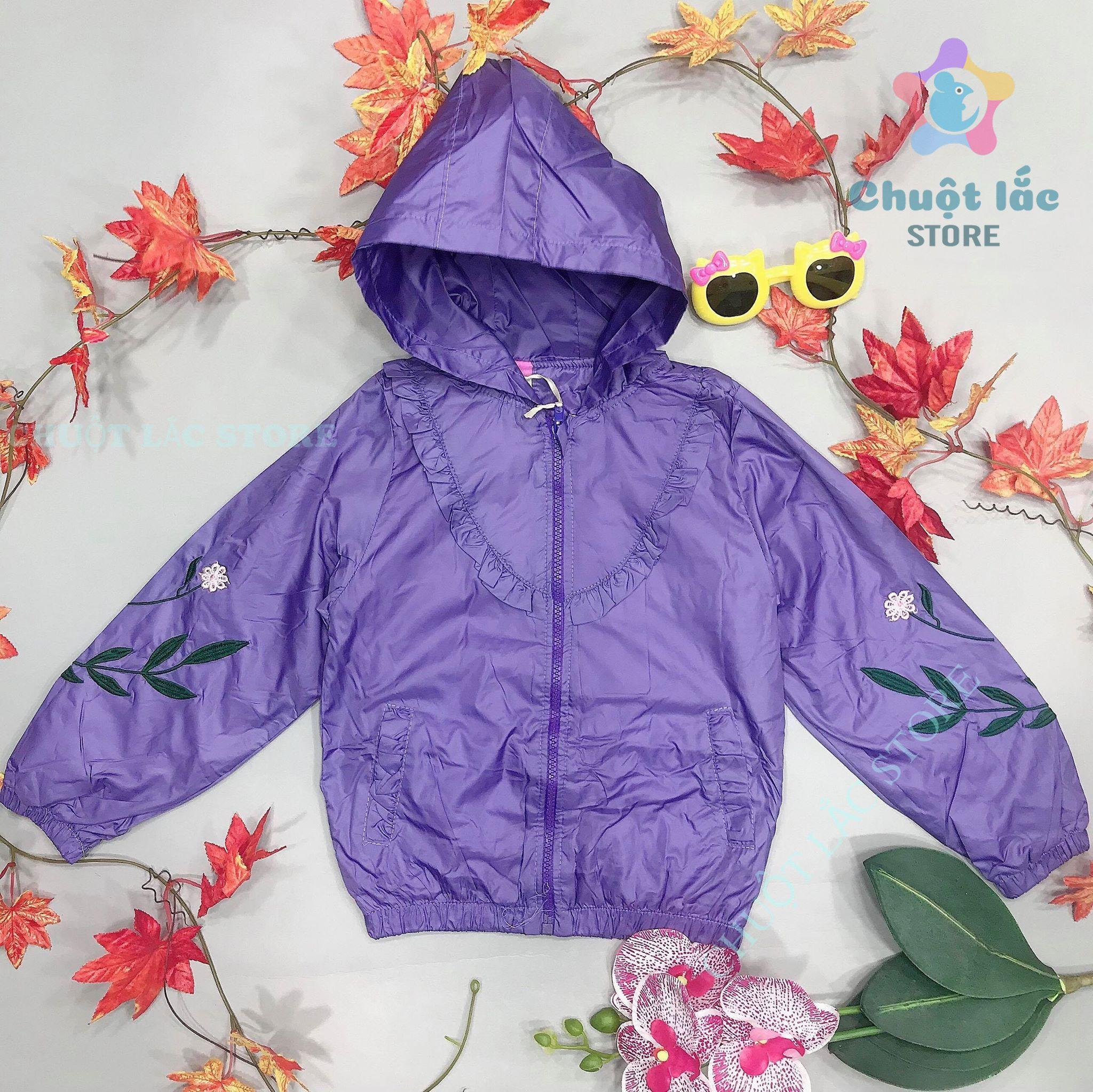 Áo khoác trẻ em, áo khoác bé gái dù 2 lót bông size đại cho bé từ 14kg đến 30kg (màu hồng, tím, xanh, cam)