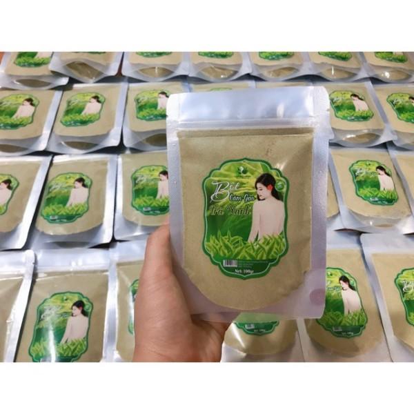 Bột cám gạo trà xanh cô gái đắp mặt,rửa mặt và tắm trắng body  ..,