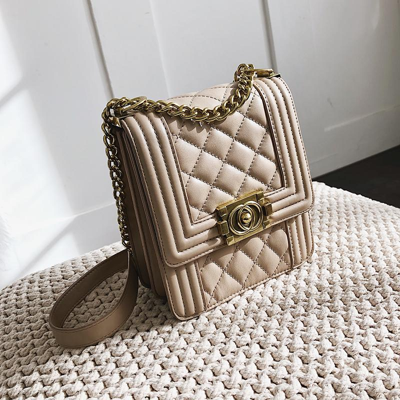 Graceful Rhombus Embroidery Thread Bags Female 2019 New Style Fashion Korean Style Versatile Shoulder Fashion Chain Pouch