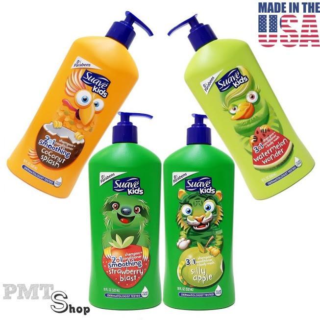 [USA] Sữa tắm, gội & Xả 3in1 cho Bé Suave Kids chai vòi 532ml Táo, Dưa hấu, Dâu, Dừa không...