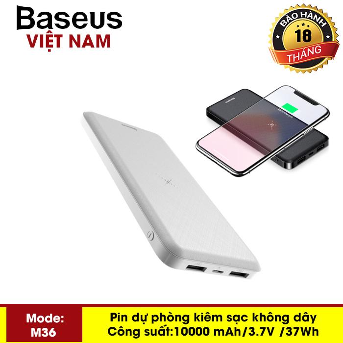 Pin dự phòng không dây - Sạc không dây đa năng Baseus M36 siêu đẹp thông minh chuẩn Qi kiêm pin dự phòng 10000 mAh cho Iphone 8, iphone X, iphone Xs Max, Samsung Galaxy S9, Note8, Note 9 - Phân phối bởi Baseus Vietnam