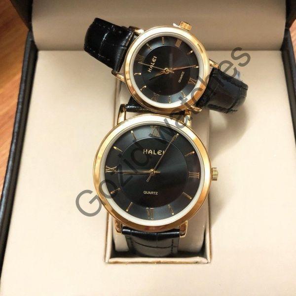Cặp đồng hồ Nam Nữ HALEI dây da thời thượng -Gozid.watches