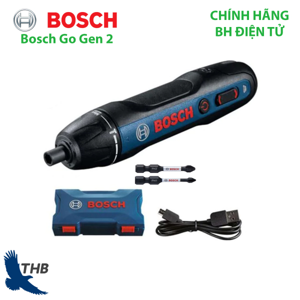 Máy vặn vít dùng pin Bosch Go Gen 2 - cải tiến thế hệ mới, công tắc bấm tiện lợi, dùng pin sạc 3.6V, bảo hành chính hãng 6 tháng