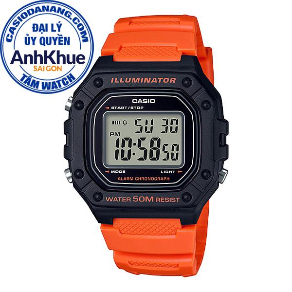 Đồng hồ nam dây nhựa Casio Standard chính hãng Anh Khuê W-218H-4B2VDF